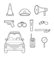 Police Outline Icons Set vector image vector image