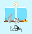 reading concept with cute cat and books vector image vector image