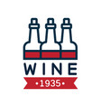 red and blue wine label estd 1935 natural top vector image vector image