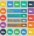 Running shoe icon sign Set of twenty colored flat vector image