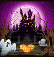 scary castle with ghost and pumpkins in the woods vector image vector image