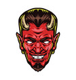 scary red devil head with horns vector image vector image