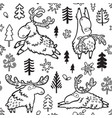 seamless childish pattern with cute deers moose vector image