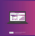 seo data analytic spreadsheet on screen business vector image