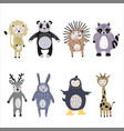 set cartoon cute animals for kids in scandinavian vector image vector image