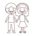 sketch contour smile expression cartoon couple in vector image vector image