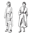 Sketch of woman wearing coat Winter clothes vector image vector image