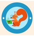 Squirrel the schoolgirl reading a book vector image vector image