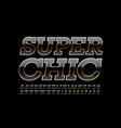 super chic glossy font black and gold alph vector image