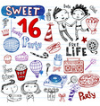 Sweet 16 doodles vector | Price: 1 Credit (USD $1)