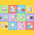 teeth care treatment and hygiene concepts set vector image vector image