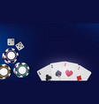 top view of casino table poker chips dice and vector image