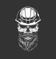 vintage skull in builder helmet vector image