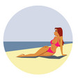 woman rest on seaside vector image vector image