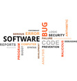 word cloud software bug vector image vector image