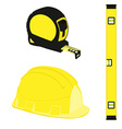 Yellow level construction building helmet and tape vector image