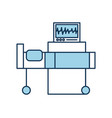 hospital interior with heart rate monitor bed vector image