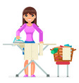 housework electric iron clean laundry clothes vector image