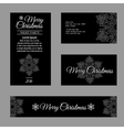 Cards with white snowflakes on a black background vector image