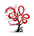 Art tree with dragons for your design vector image vector image
