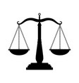 balance scales black icon judge scale silhouette vector image vector image