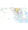 baltimore metropolitan area map maryland usa vector image vector image