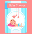 bashower child lying on pillow and sleeping vector image vector image