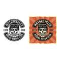biker skull in helmet with wrench in teeth emblem vector image vector image