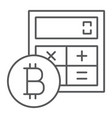 bitcoin calculator thin line icon finance money vector image vector image
