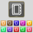 Book icon sign Set with eleven colored buttons for