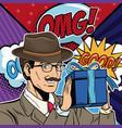 businessman with bubbles pop art cartoon vector image vector image