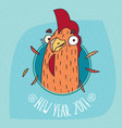 cartoon cock or rooster smiles in round frame vector image vector image