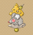 cartoon mouse with cheese and olives vector image