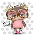 cartoon owl in pink glasses vector image vector image