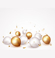 celebration banner with gold confetti and balloons vector image
