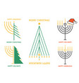 christmas and hanukkah cards set vector image vector image
