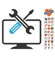 computer tools icon with dating bonus vector image vector image