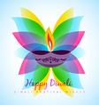 diwali diya with leaf vector image