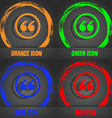 Double quotes icon Fashionable modern style In the vector image
