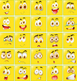 Facial expressions on yellow badges vector image vector image