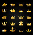 gold crown icons queen king crowns luxury royal vector image vector image