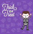 halloween character skeleton boy costume on ghost vector image vector image