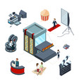 isometric cinema concept film production vector image vector image