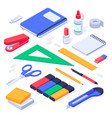 isometric office supplies school stationery tools vector image vector image