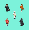isometric person set of detective seaman lady vector image vector image