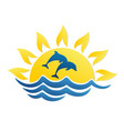 logo of sun and sea with dolphins vector image