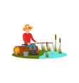 man sitting on log with rod in hands young guy vector image vector image