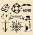 marine set nautical elements hand vector image vector image