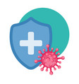 medical shield surrounded viruses vector image