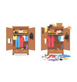 messy clothes in wardrobe garments before after vector image vector image